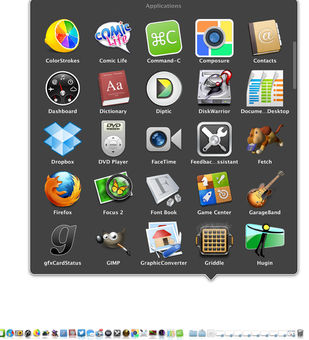 how to keep application folder in dock